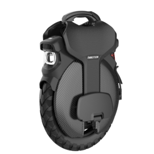 Inmotion V11 Electric Unicycle front side view in black on a white background