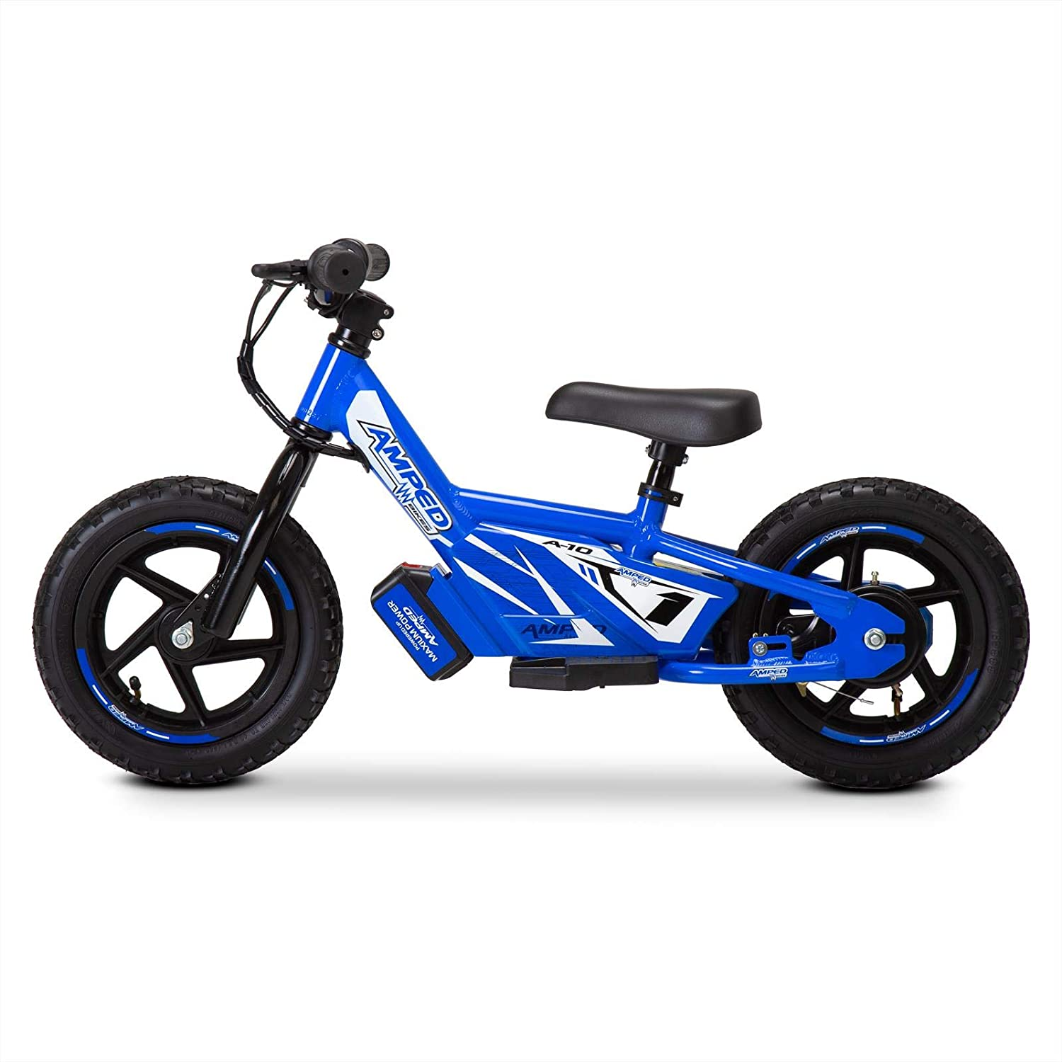 Amped A10 Electric Balance Bike in Blue, side view on a white background