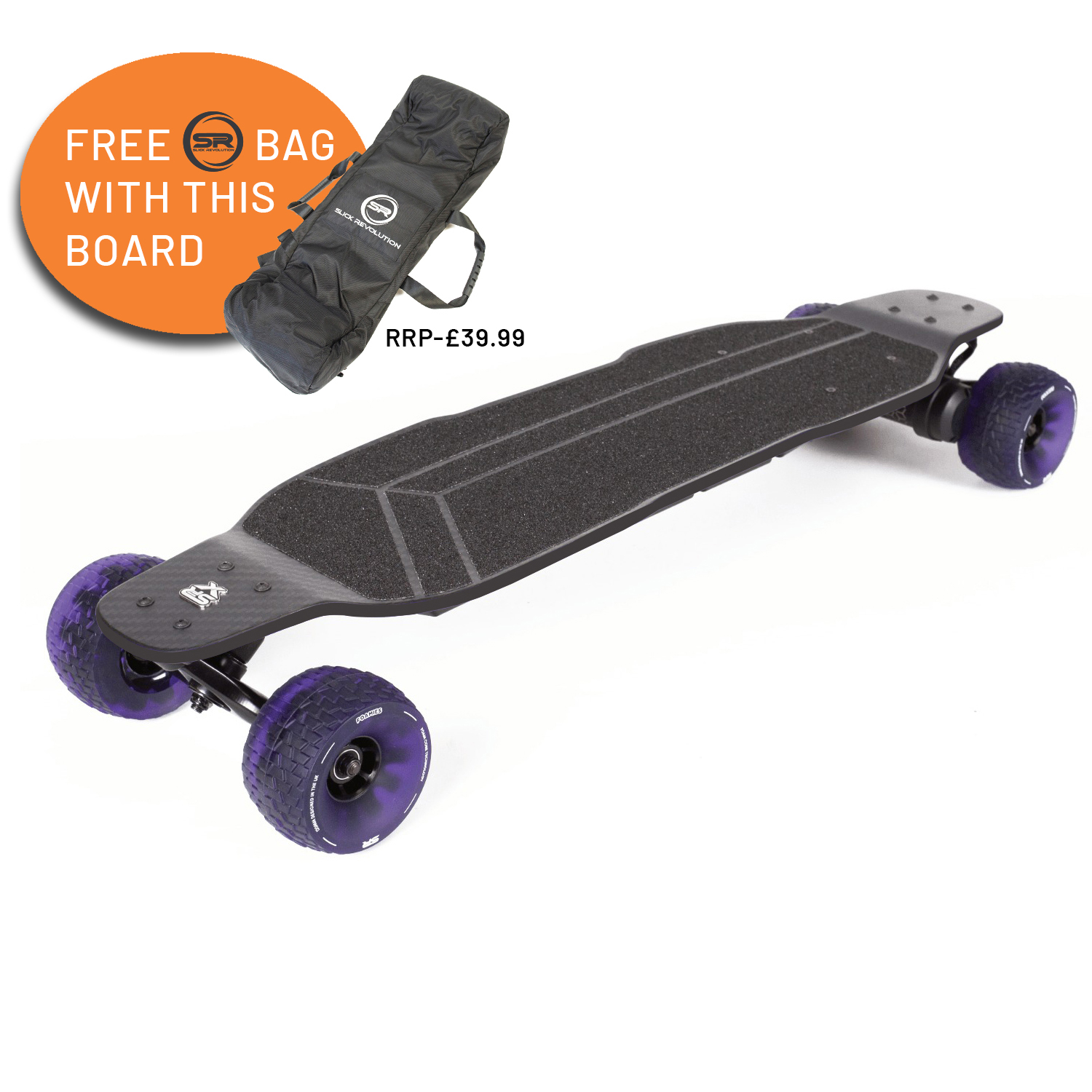 SLICK REVOLUTION FLEW-E-CARBON ELECTRIC SKATEBOARD