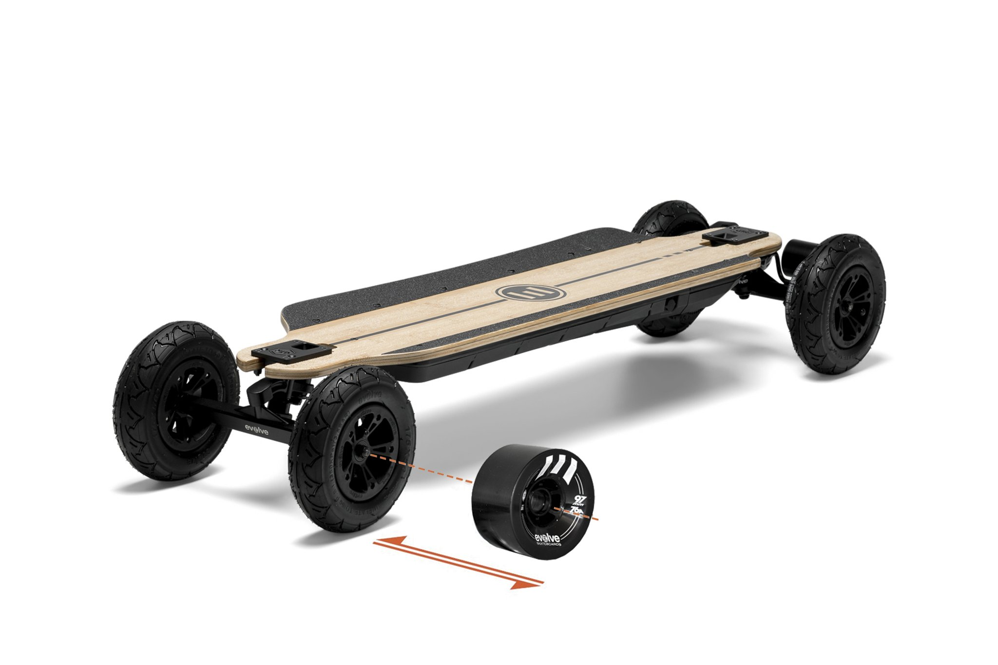Evolve GTR Bamboo Street electric skateboard front side view with both types of black wheels on a white background