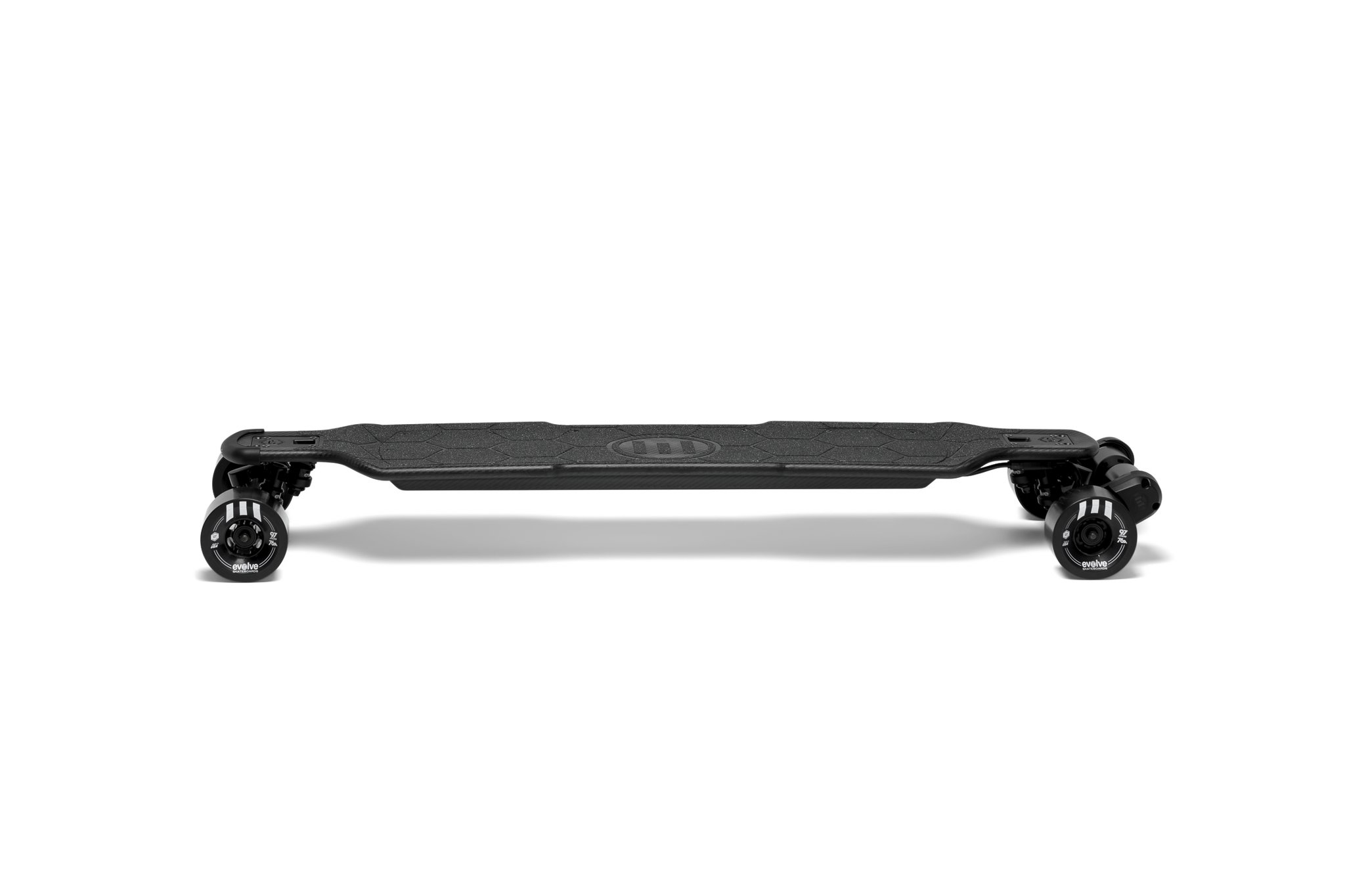 Evolve Carbon Street electric skateboard in black on a white background