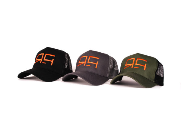 ride and glide trucker caps in 3 colours on a white background