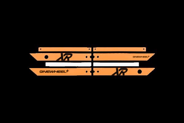 Onewheel XR Fluorescent Orange Rails on a white background