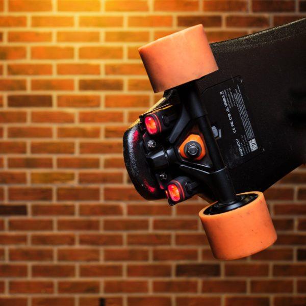 Rear Shredlights on electric skateboard