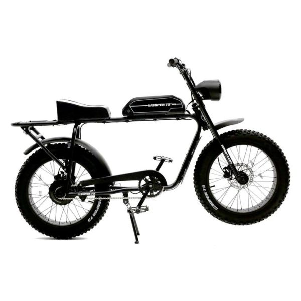 super 73 electric bicycle SG-1 positioned on its stand with a side profile