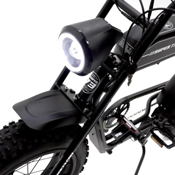 Super 73 SG1 electric bicycle front headlamp view and the bicycle colour is black