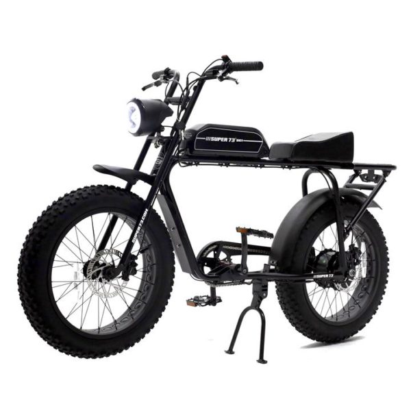 Super 73 SG-1electric bicycle front side profile painted black sitting on its stand
