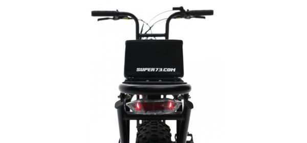 Super 73 electric bicycle rear view showing seat and rear light