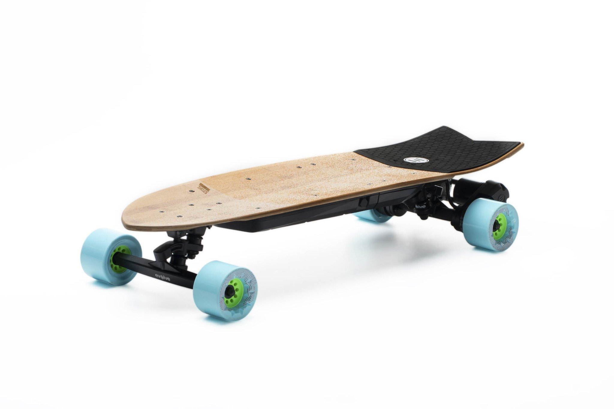 evolve electric skateboards blue wheels