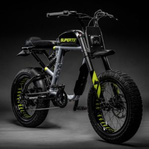 Super 73 RX Electric Bike in Rhino Grey from a front/side profile on a black background