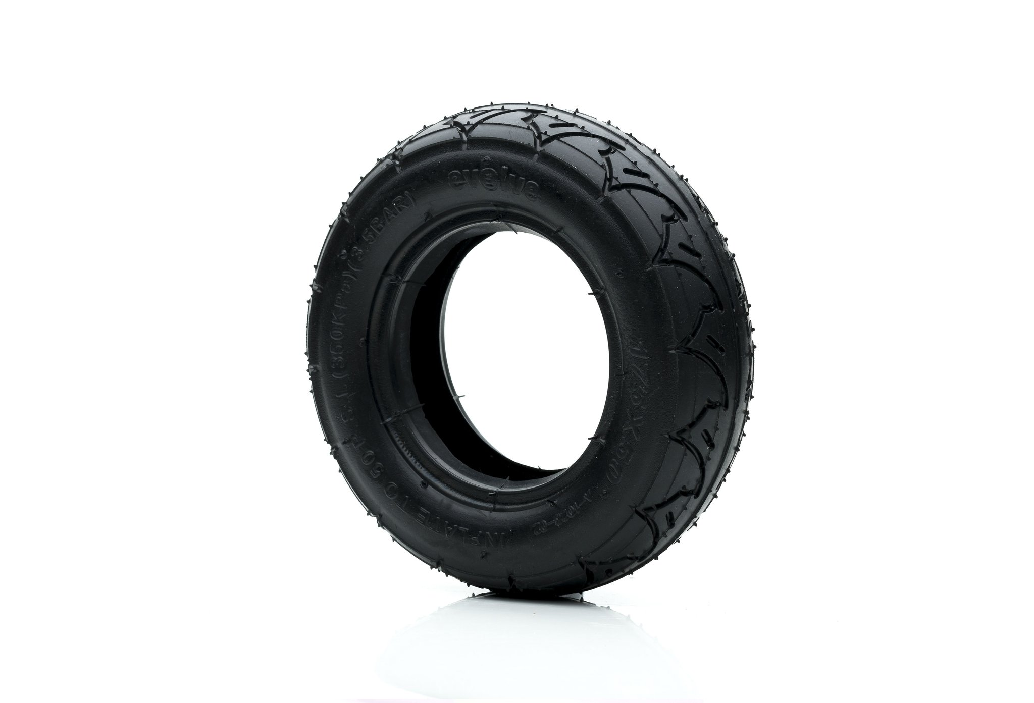 Evolve 175mm (7 inch) all terrain wheels in black on a white background