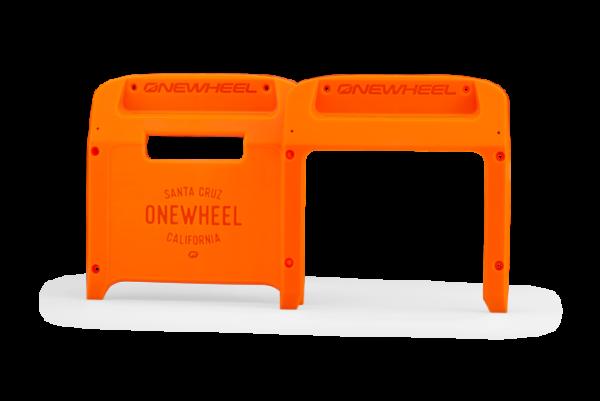Fluorescent Orange Onewheel XR Bumpers on a white background