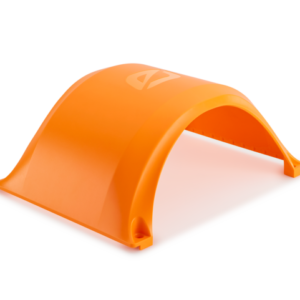 Fluorescent Orange Fender for a Onewheel XR photographed on a white background