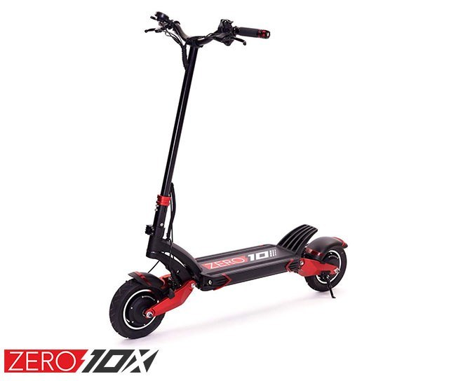 ZERO 10X Electric scooter full front side view on a white background
