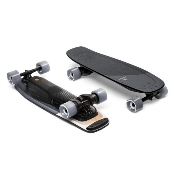 boosted mini x electric skateboard top and bottom view