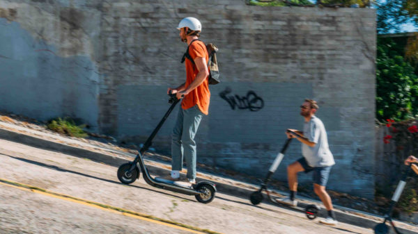 Boosted REV electric scooter beating bird electric scooter uphill