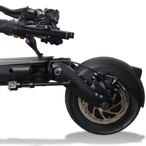dualtron eagle electric scooter close up of rear wheel and disc brakes