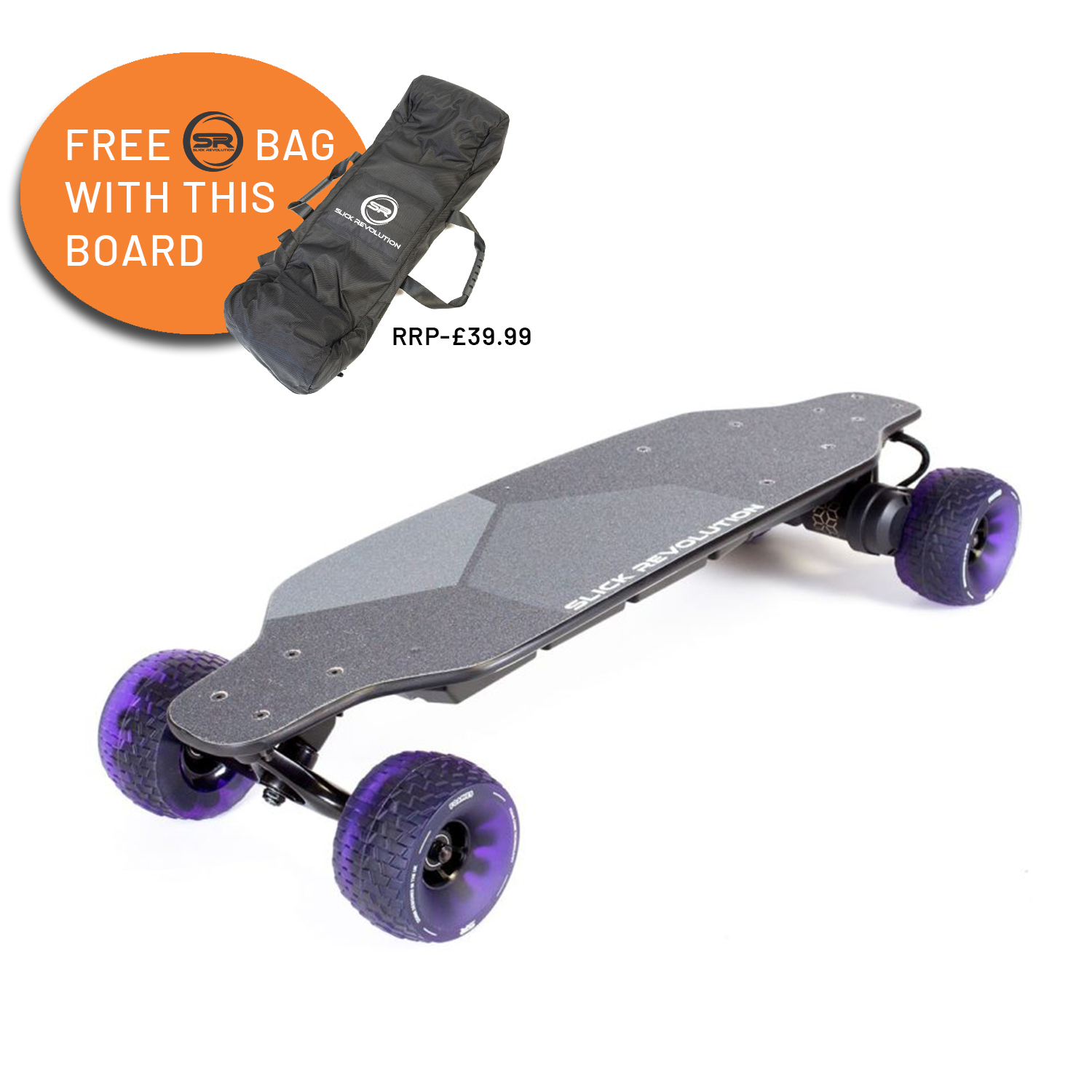 slick revolution carver electric skateboard with a free bag