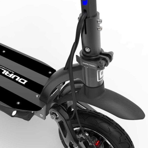 dualtron spider electric scooter close up of front wheel